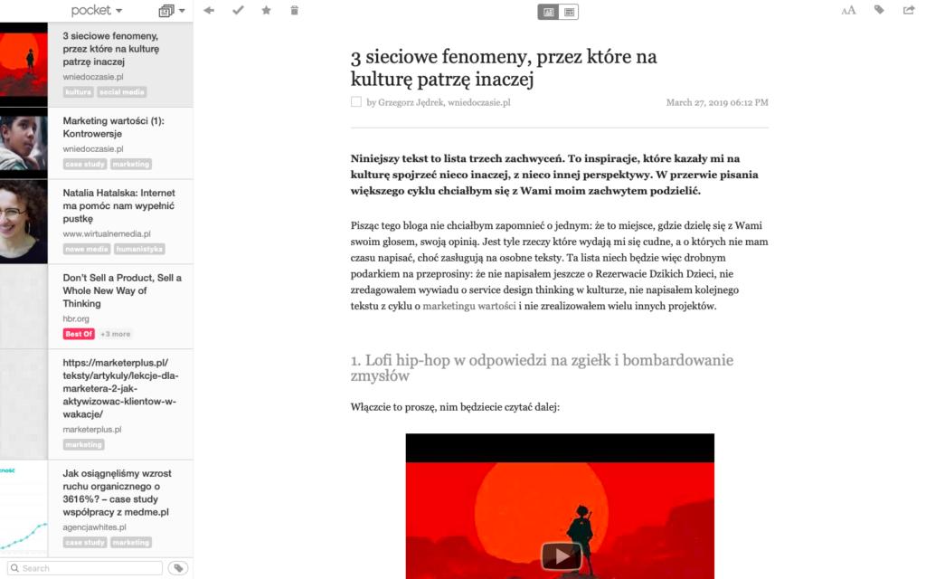Pocket - aplikacja w wersji desktopowej
